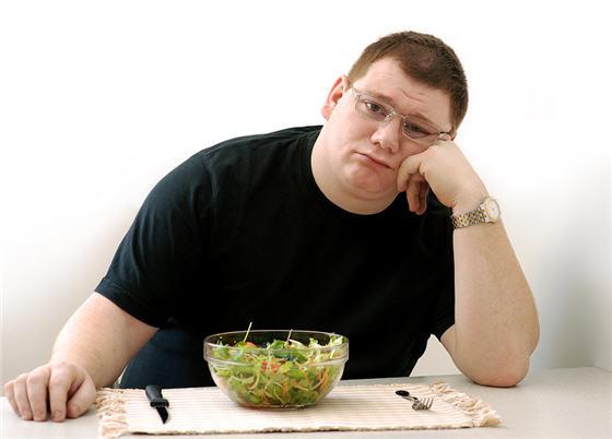 Gordinho Insatisfeito com salada