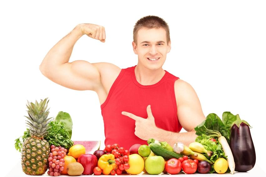 Músculos com dieta vegetariana
