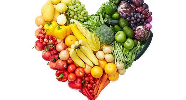 Alimentos em coração