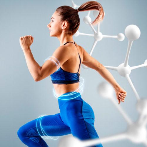 metabolismo mulher correndo moléculas ao fundo