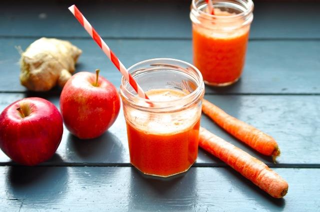 Suco de macã e cenoura