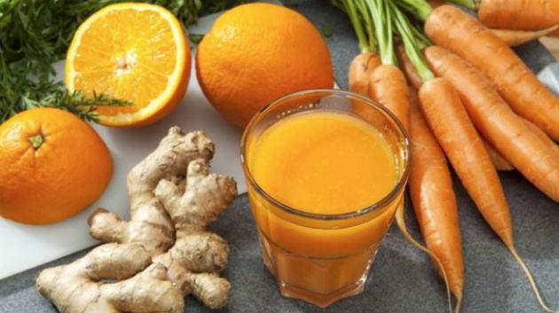 Suco de cenoura com gengibre