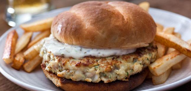 Hambúrguer de bacalhau