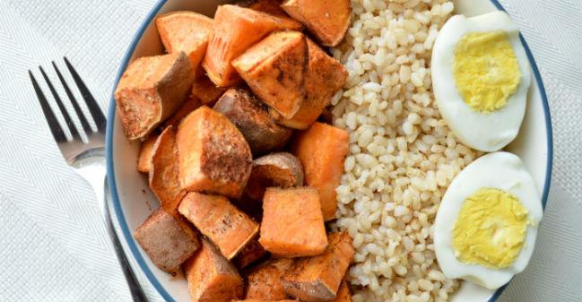 Batata doce e arroz integral