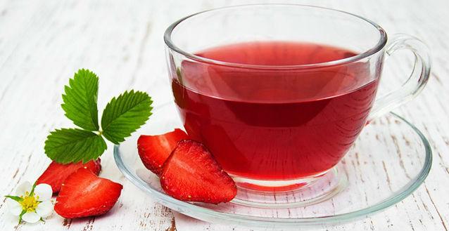 Chá de folha de morango