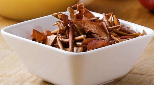 Chips de casca de maçã