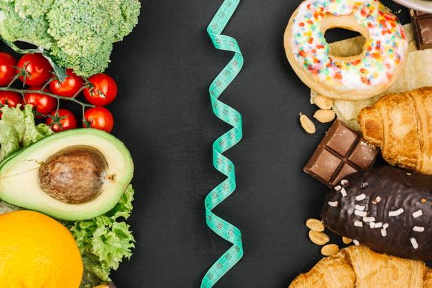 Alimentos saudáveis vs. não saudáveis