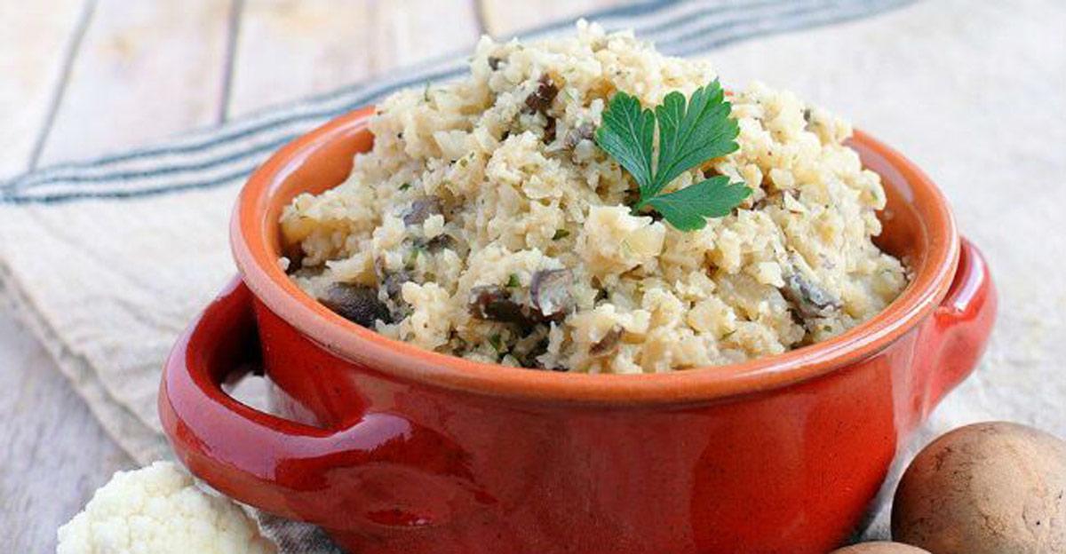 risoto com arroz de couve flor