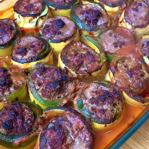 Rondelli de abobrinha recheada com carne low carb