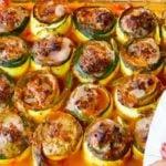 Jantar Low Carb que Emagrece - Receita de Rondelli de Abobrinha Recheado com Carne