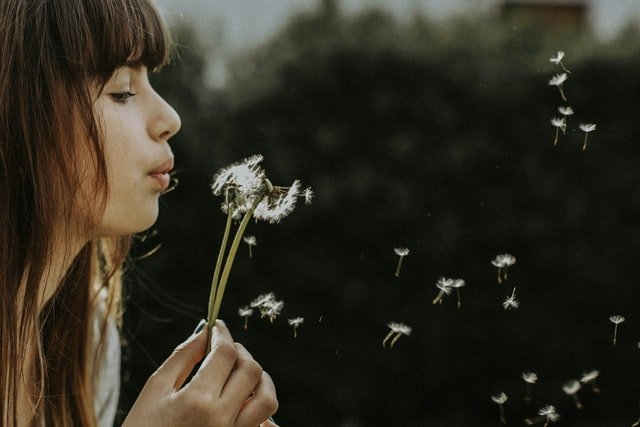 mulher soprando uma flor