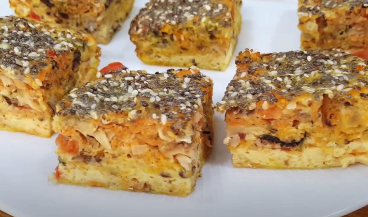bolo fit de sardinha com cenoura e tomate