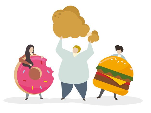 ilustração de alimentos ricos em gordura hidrogenada ou trans