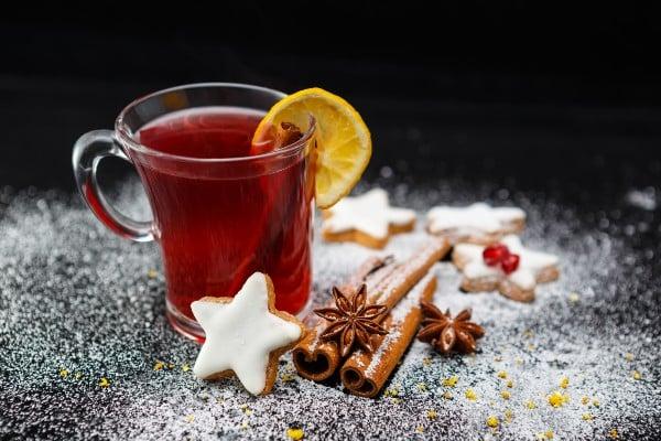 chá de cascas de romã