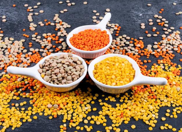Lentilhas amarela, laranja e verde