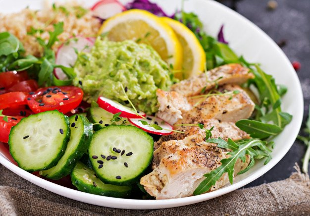Prato contendo alimentos dos 5 grupos alimentares recomendados pela OMS