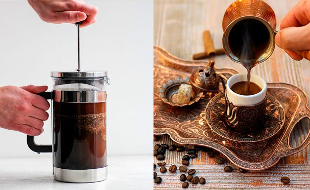 Café feito na prensa francesa e café turco