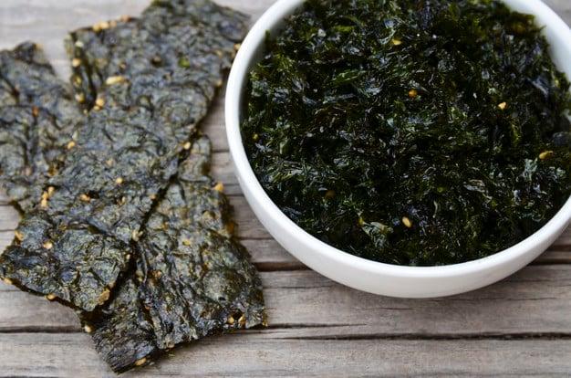 algas secas é um alimento rico em iodo