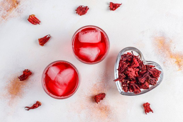 chá de hibisco gelado
