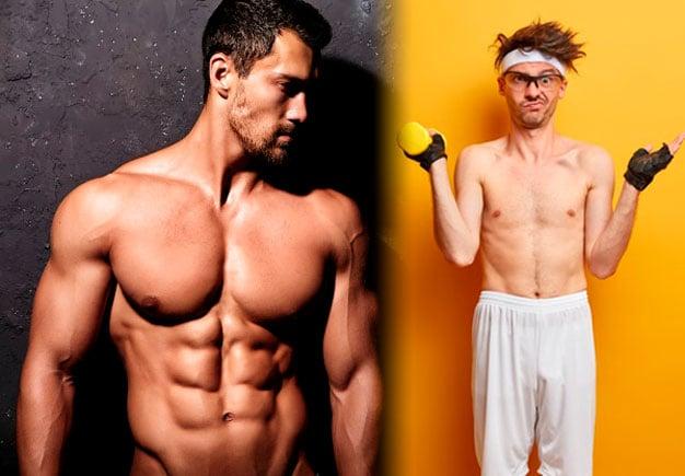 homem com corpo definido vs homem com o corpo magro