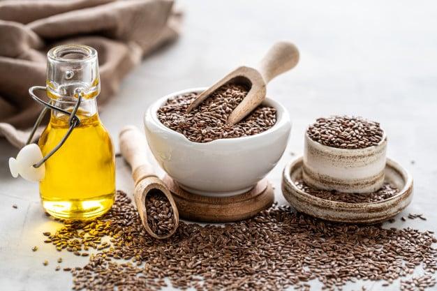 óleo e sementes de linhaça