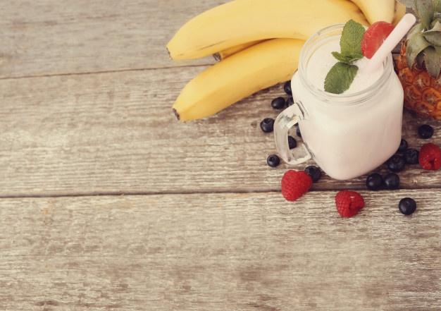 Milkshake de banana e morango