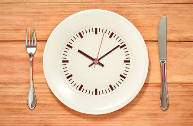 jejum intermitente prato como relógio